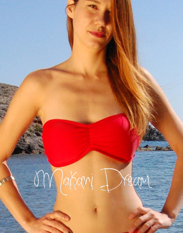 Rushed Bandeau Ballet Bikini Top BORACAY in Ruby Red, by ...